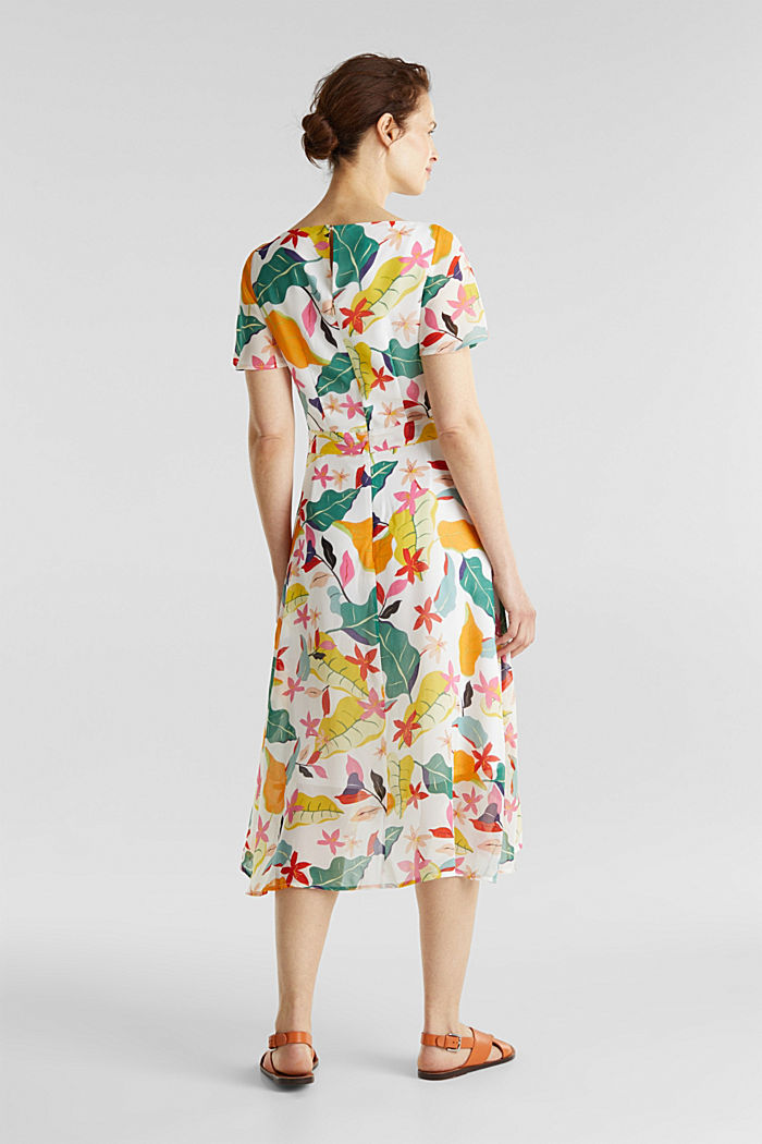 Chiffon dress with floral print, OFF WHITE, detail image number 1