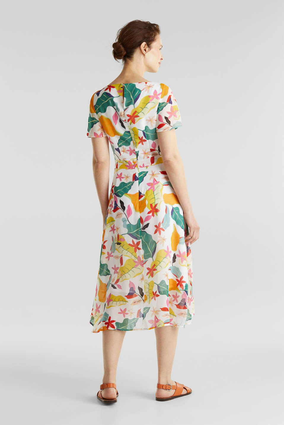 Chiffon dress with floral print, OFF WHITE 4, detail image number 1