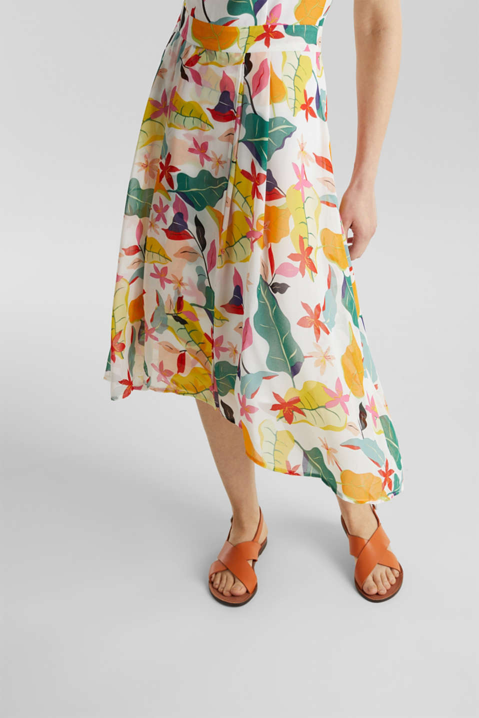 Chiffon dress with floral print, OFF WHITE 4, detail image number 3