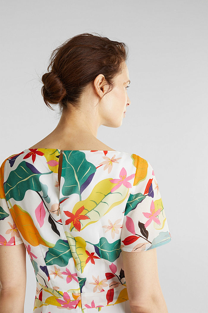 Chiffon dress with floral print, OFF WHITE, detail image number 4
