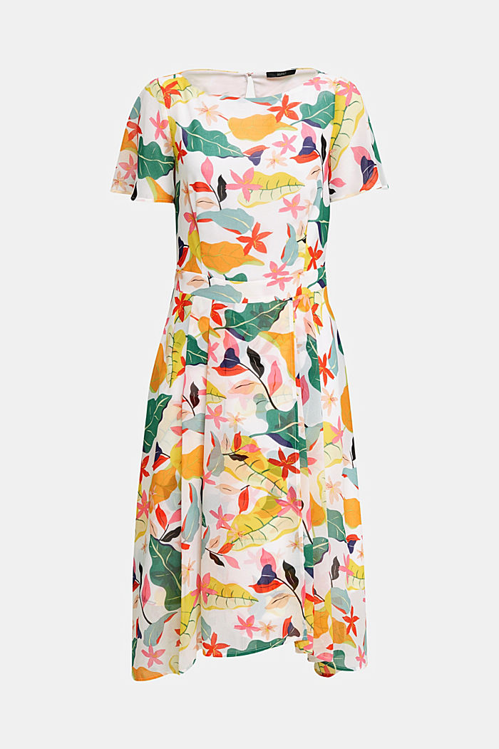 Chiffon dress with floral print, OFF WHITE, detail image number 5