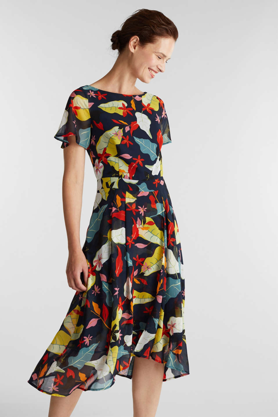 Esprit - Chiffon dress with floral print