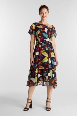 Chiffon dress with floral print, NAVY, detail
