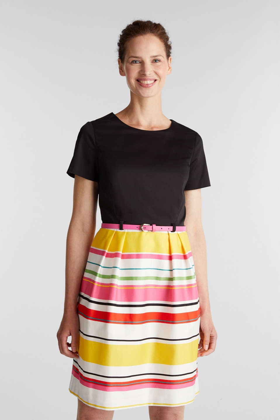 Esprit - Cotton satin belted dress