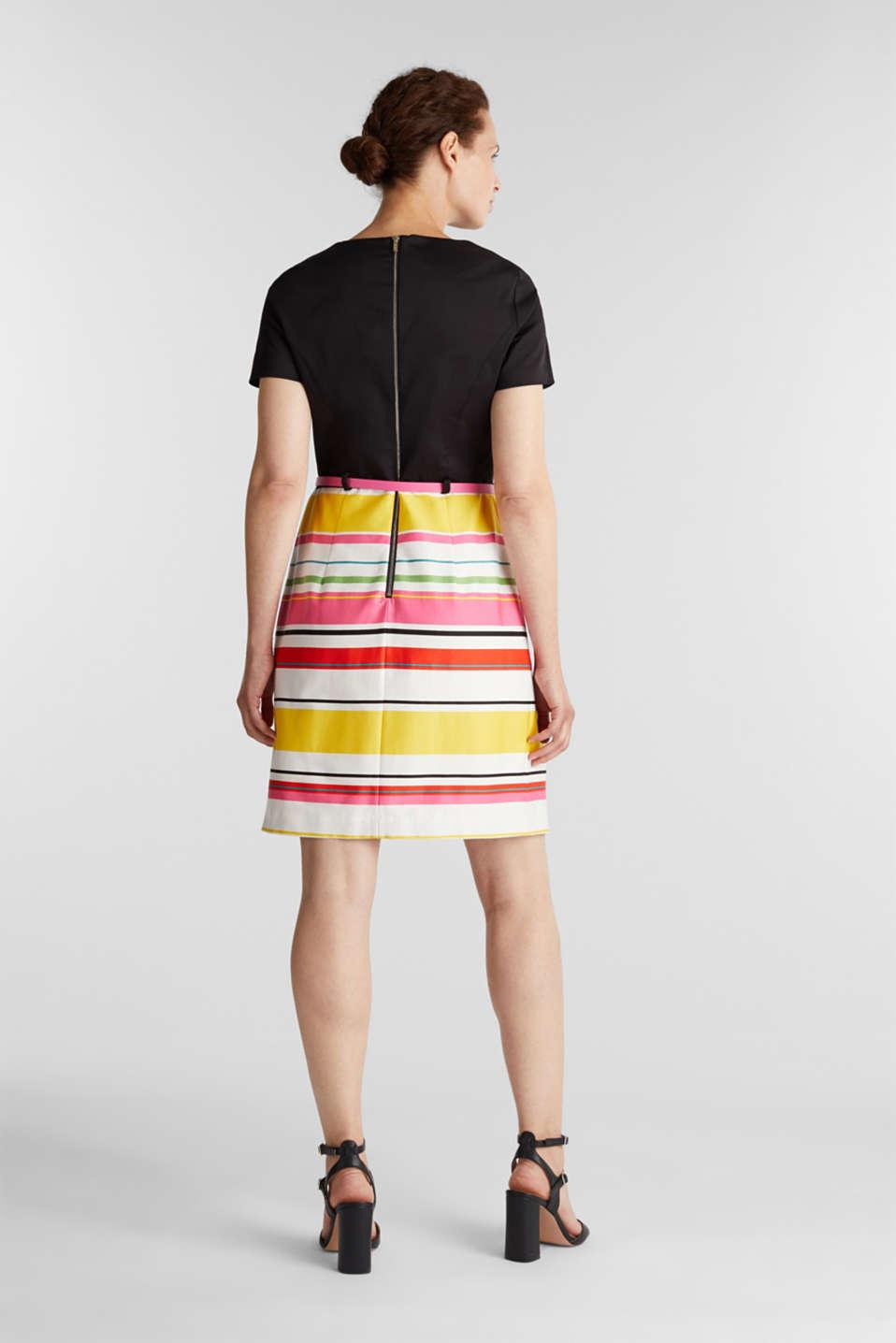 Cotton satin belted dress, WHITE 3, detail image number 3