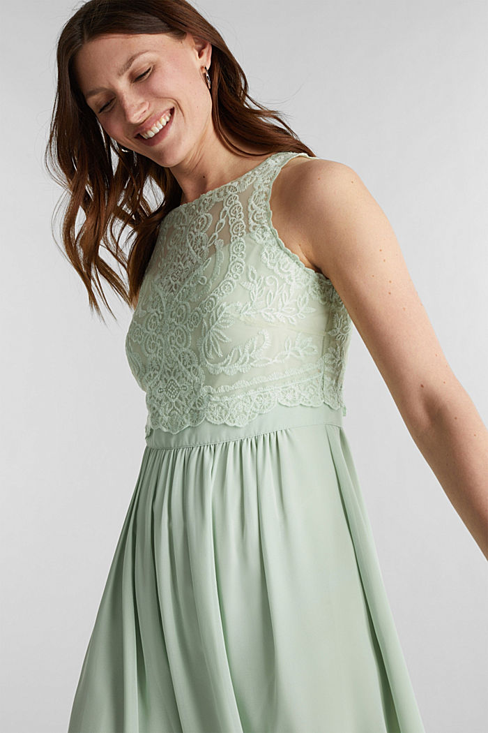 Midi dress made of chiffon and lace