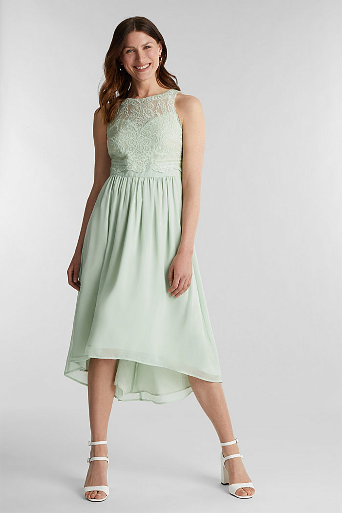 Midi dress made of chiffon and lace, PASTEL GREEN, detail image number 1