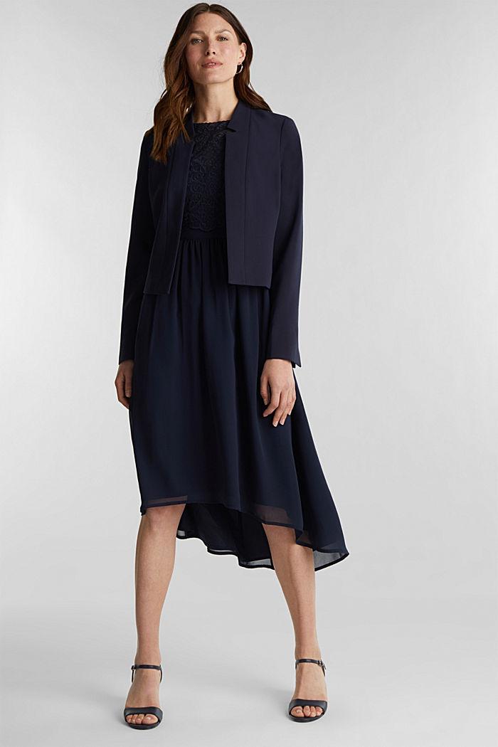 Midi-Kleid aus Chiffon und Spitze, NAVY, detail image number 1