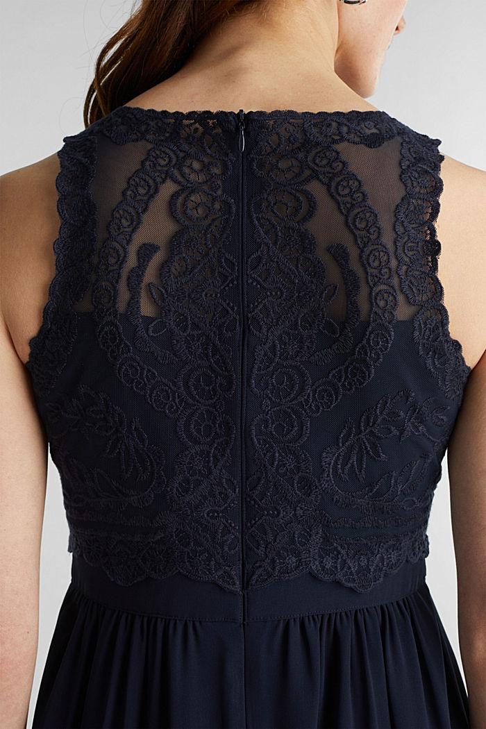 Midi-Kleid aus Chiffon und Spitze, NAVY, detail image number 3