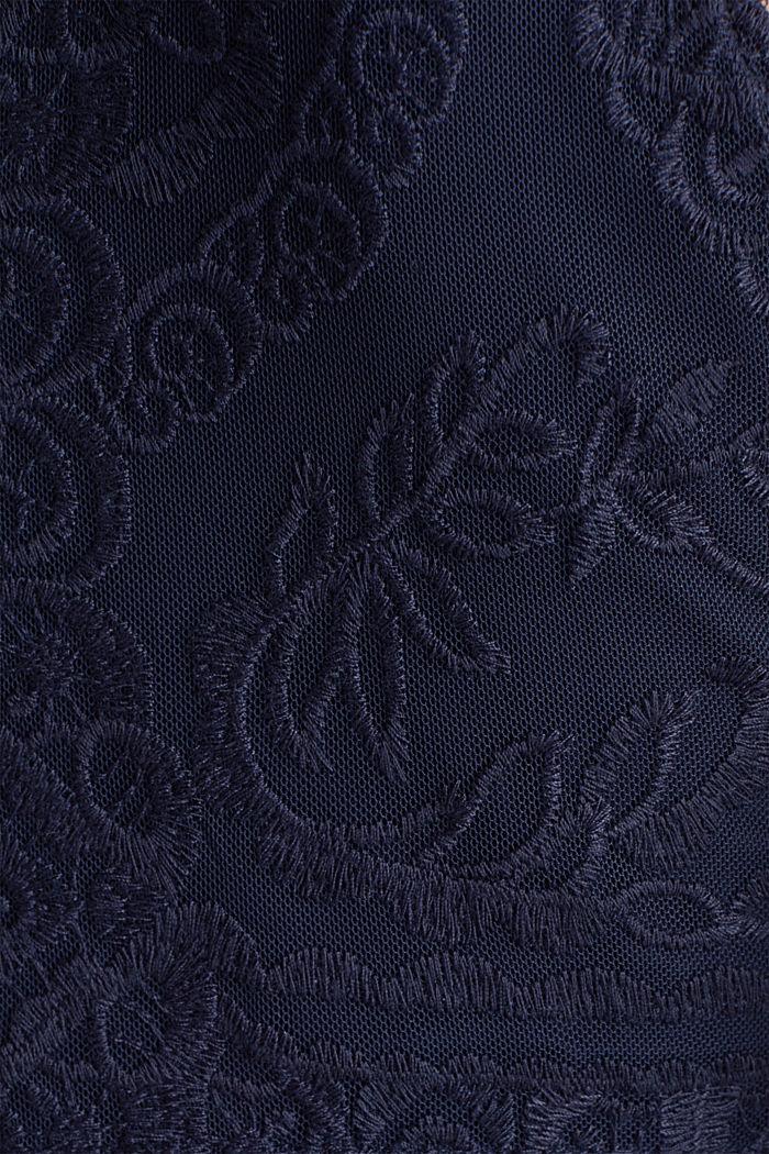 Midi-Kleid aus Chiffon und Spitze, NAVY, detail image number 4