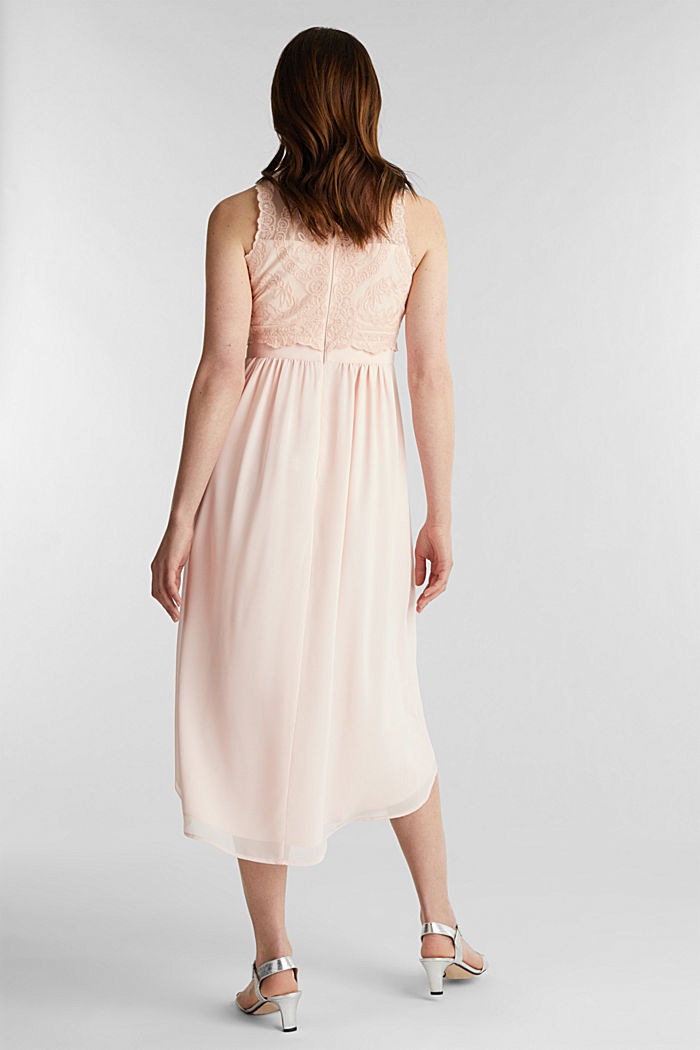 Midi-Kleid aus Chiffon und Spitze, PASTEL PINK, detail image number 2