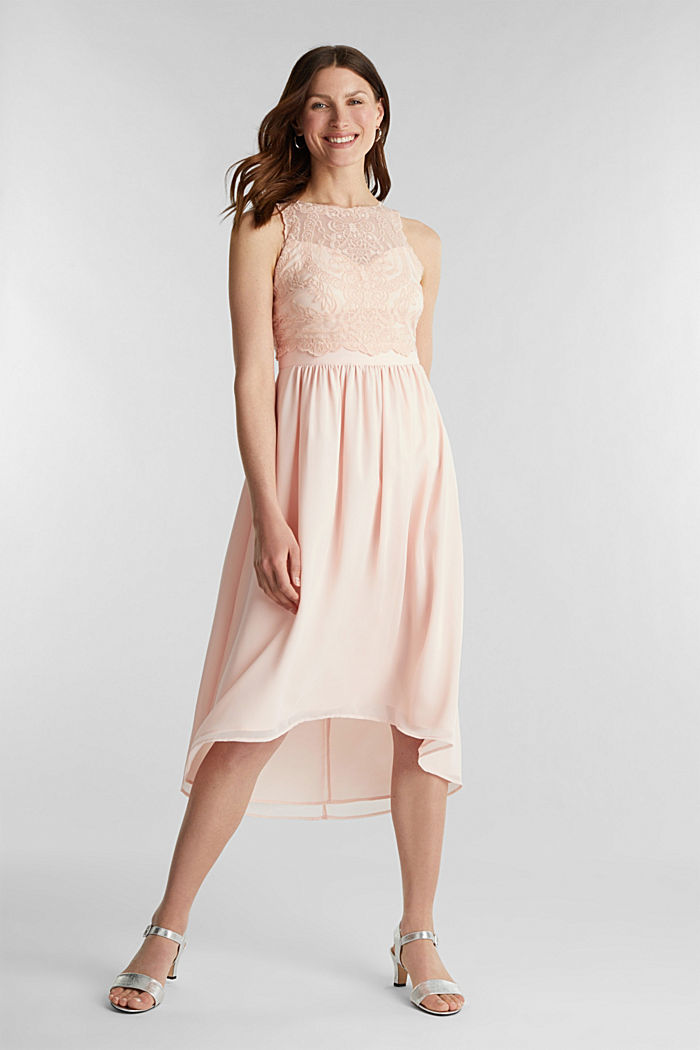 Midi dress made of chiffon and lace, PASTEL PINK, detail image number 1