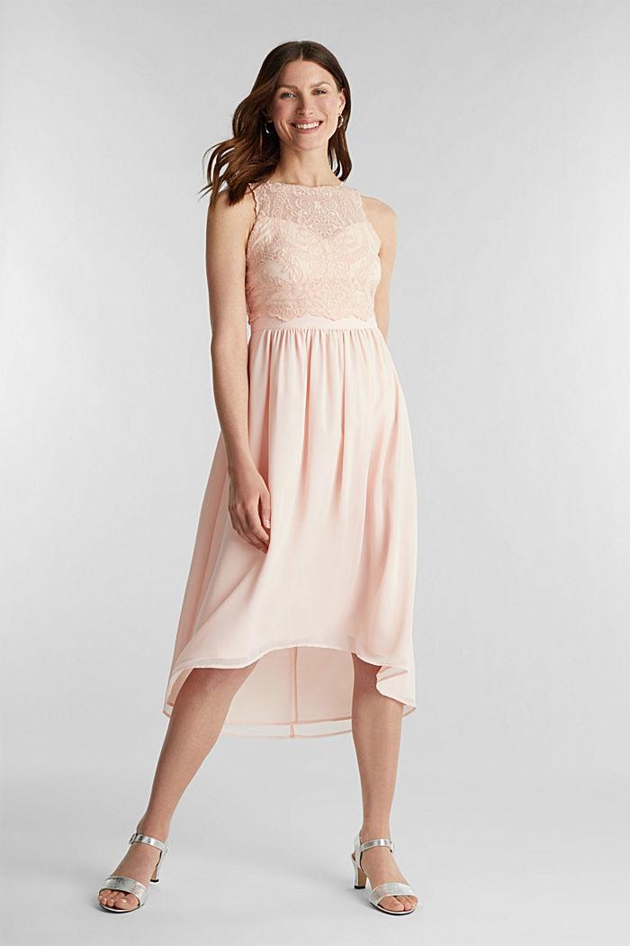 Midi šaty z šifonu a krajky, PASTEL PINK, detail image number 1