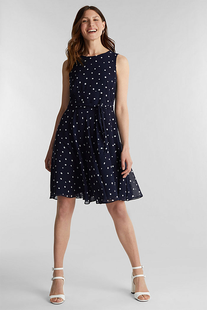 Chiffon dress with dot or flower print, NAVY, detail image number 0