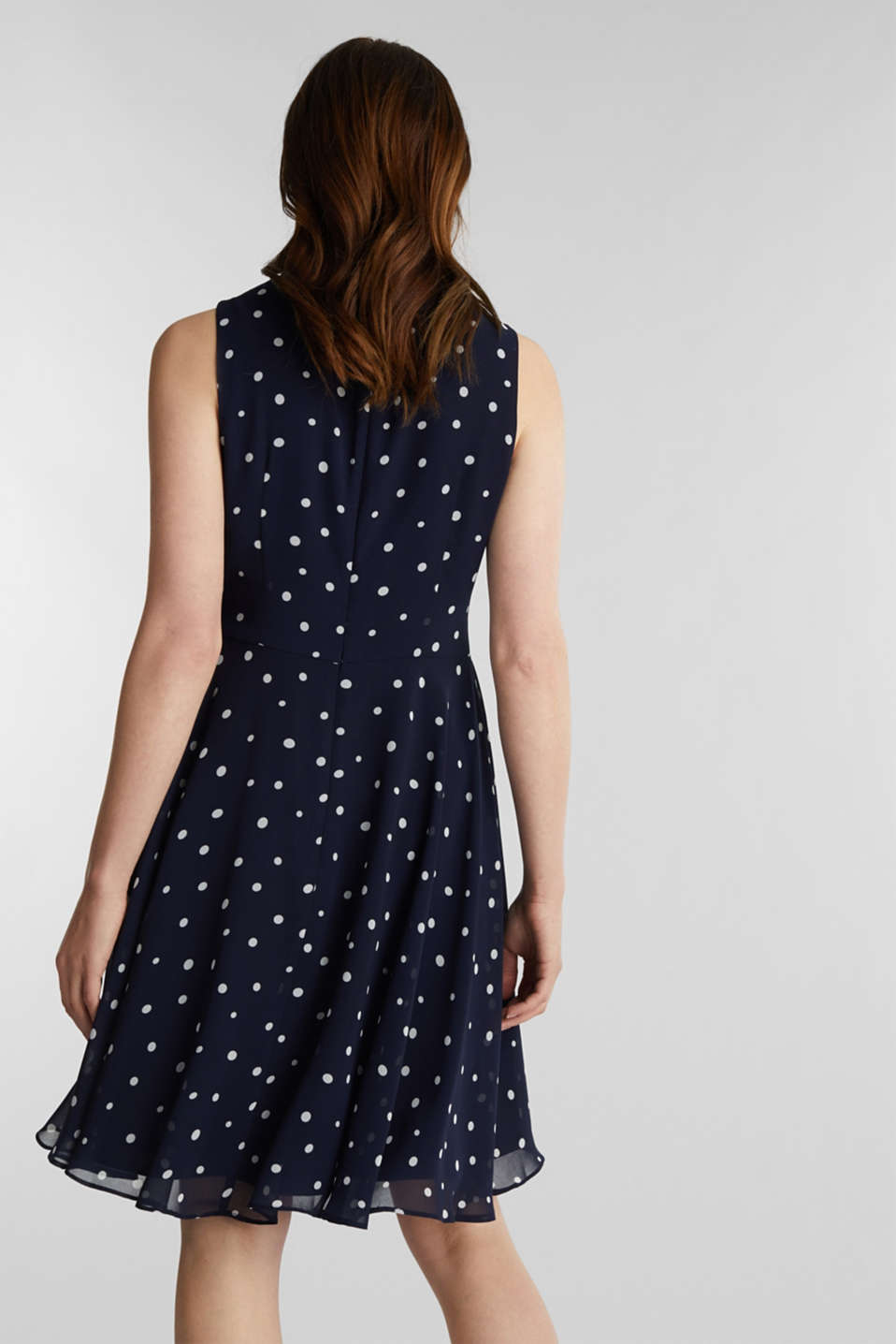 Chiffon dress with dot or flower print, NAVY 3, detail image number 2