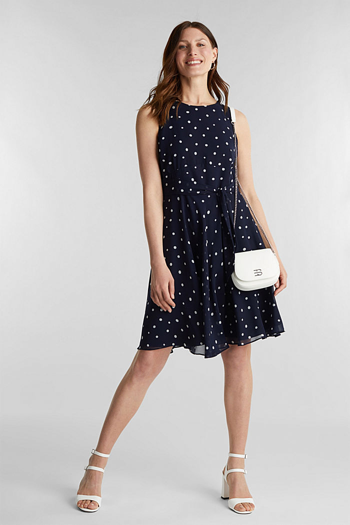 Chiffon dress with dot or flower print, NAVY, detail image number 1