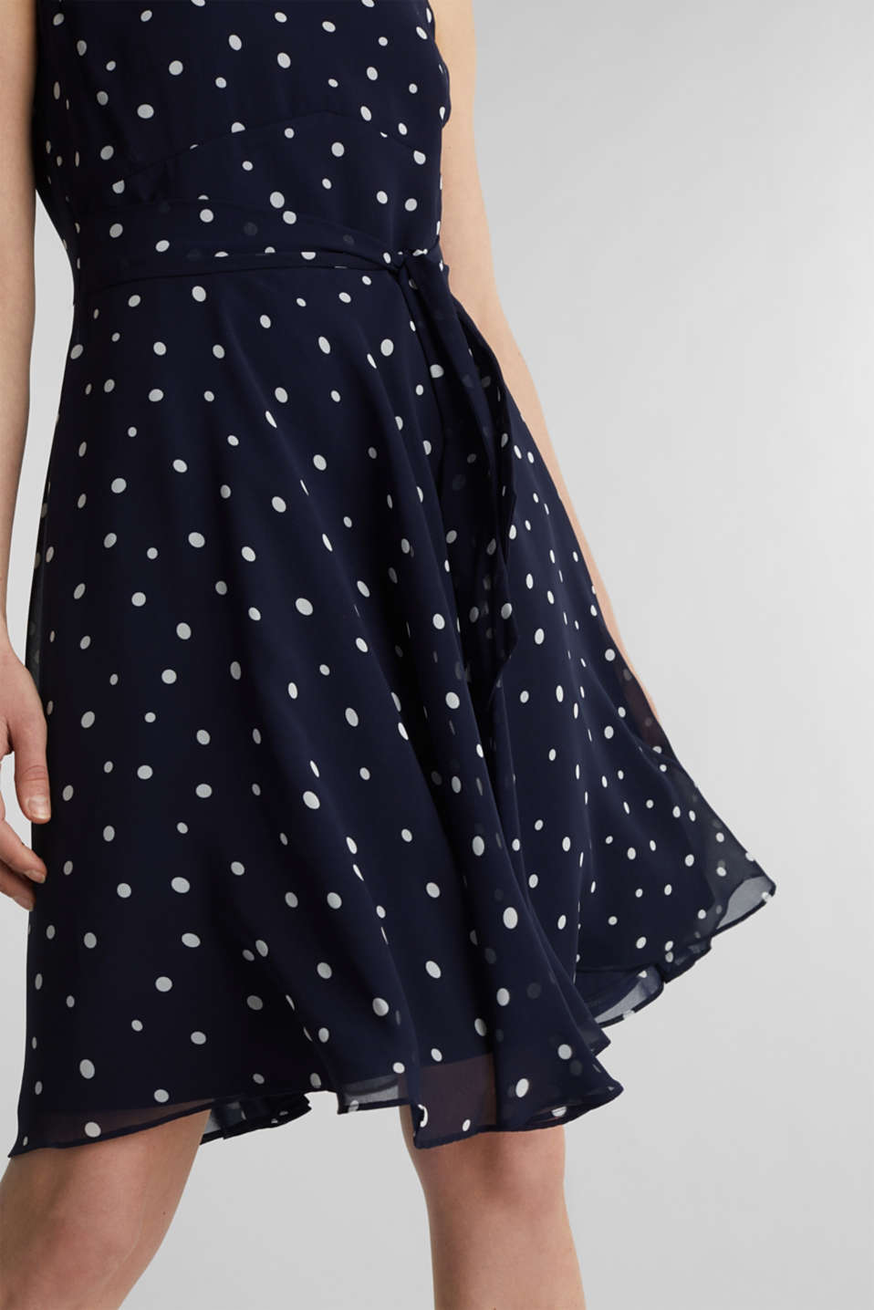Chiffon dress with dot or flower print, NAVY 3, detail image number 5