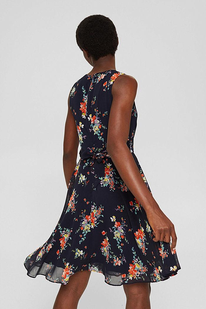 Chiffon-Kleid mit Punkte-/Blumen-Print, NAVY BLUE, detail image number 2