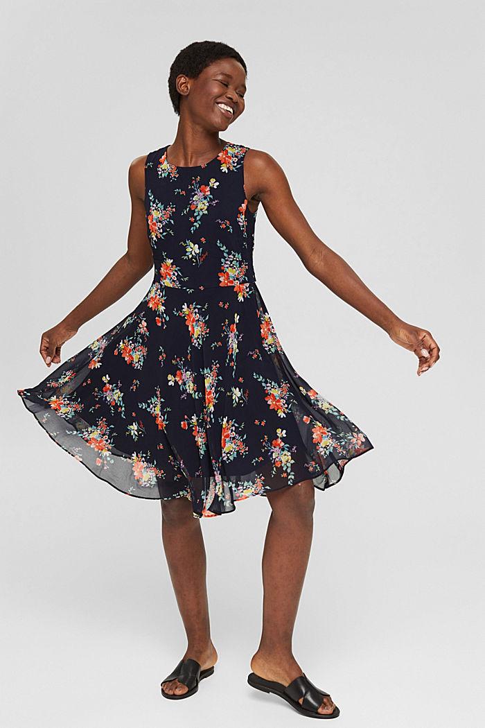 Chiffon-Kleid mit Punkte-/Blumen-Print, NAVY BLUE, detail image number 5