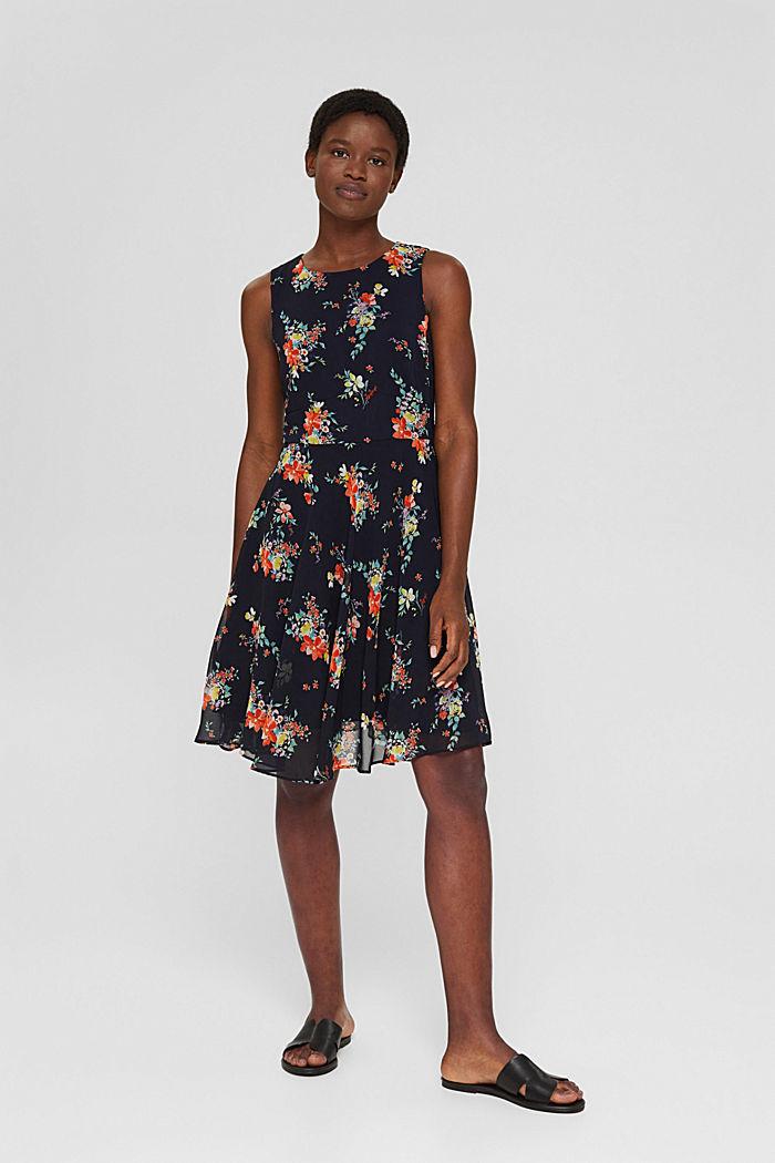 Chiffon-Kleid mit Punkte-/Blumen-Print, NAVY BLUE, detail image number 1