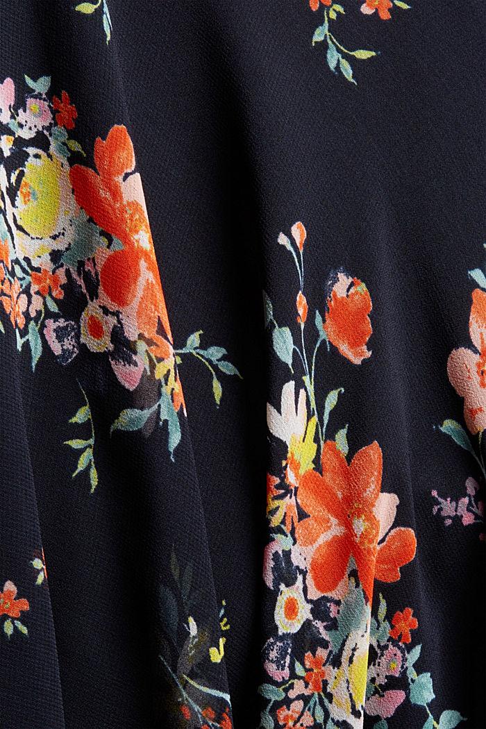 Chiffon-Kleid mit Punkte-/Blumen-Print, NAVY BLUE, detail image number 4