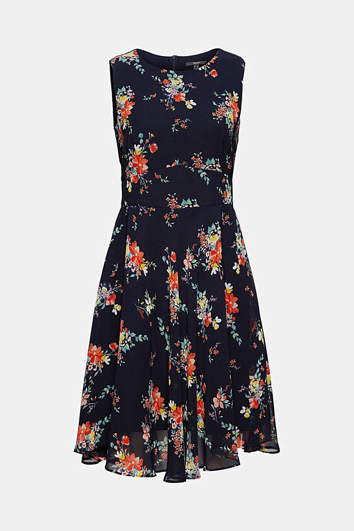 Vestido de gasa con estampado de lunares/flores