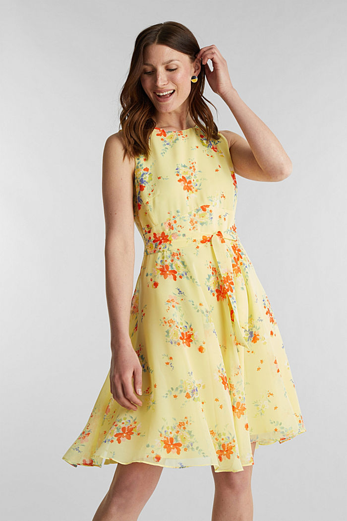 Chiffon dress with dot or flower print
