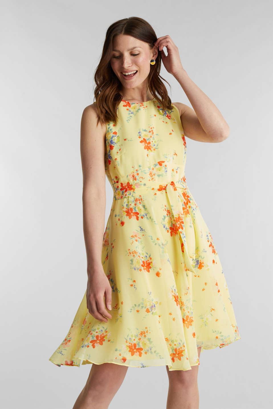 Esprit - Chiffon dress with dot or flower print