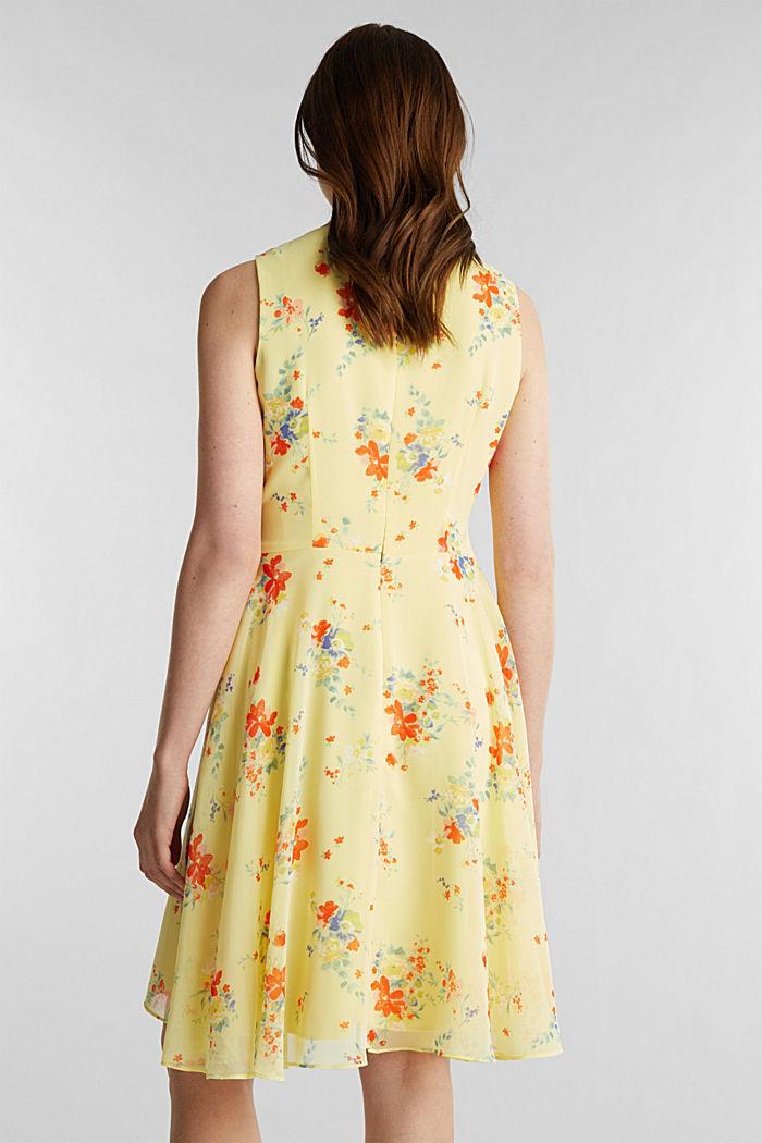 Chiffon-Kleid mit Punkte-/Blumen-Print, LIME YELLOW, detail image number 2