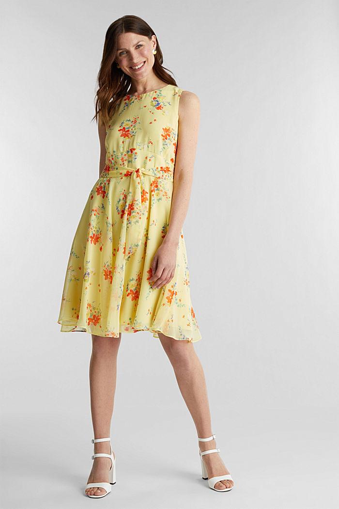 Chiffon-Kleid mit Punkte-/Blumen-Print, LIME YELLOW, detail image number 1