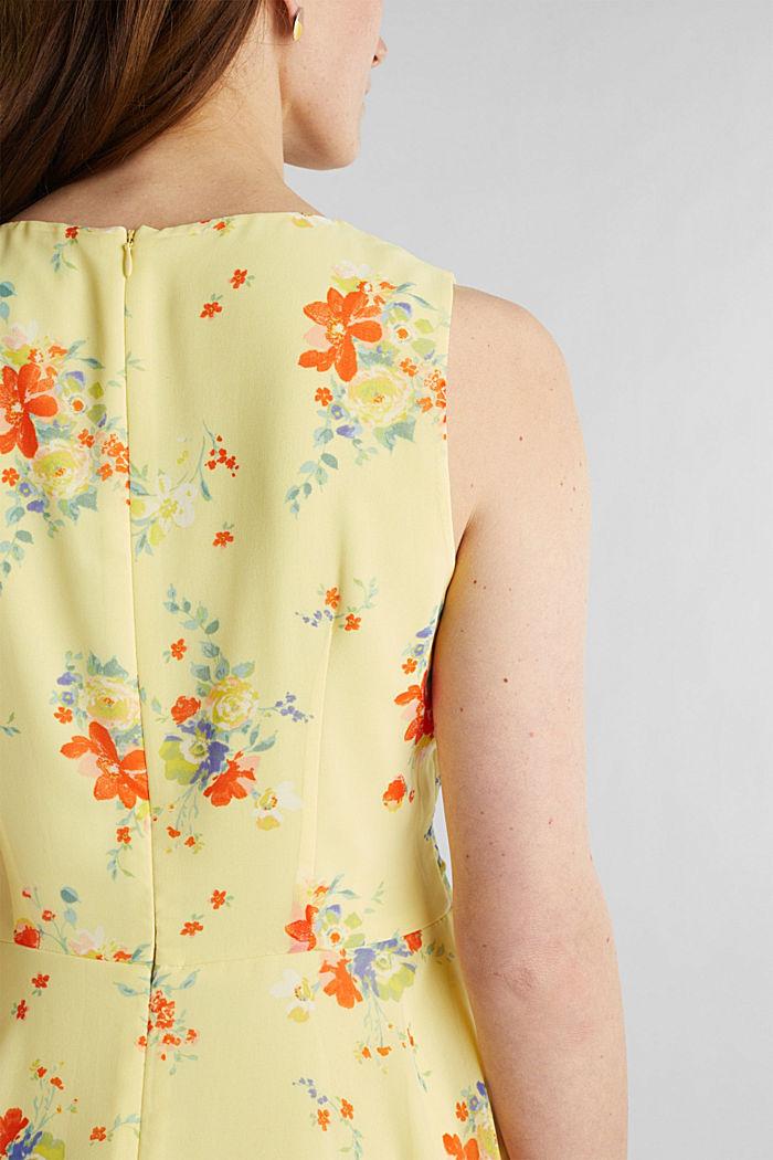 Chiffon-Kleid mit Punkte-/Blumen-Print, LIME YELLOW, detail image number 3