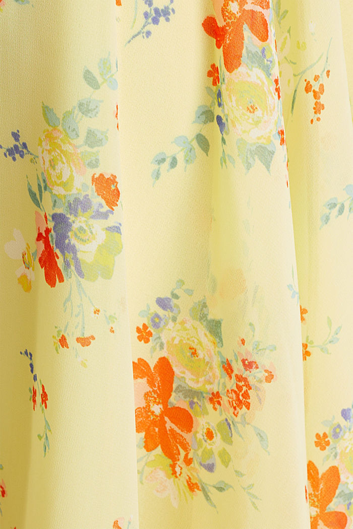 Chiffon-Kleid mit Punkte-/Blumen-Print, LIME YELLOW, detail image number 4