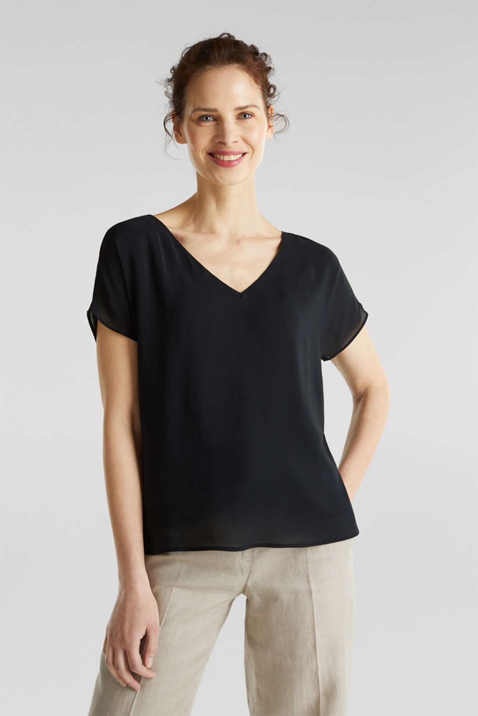 Blouse top with double-layer V-neckline, BLACK, detail