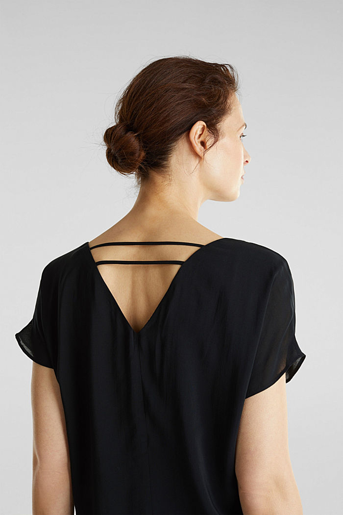 Top blusato con doppio scollo a V, BLACK, detail image number 1
