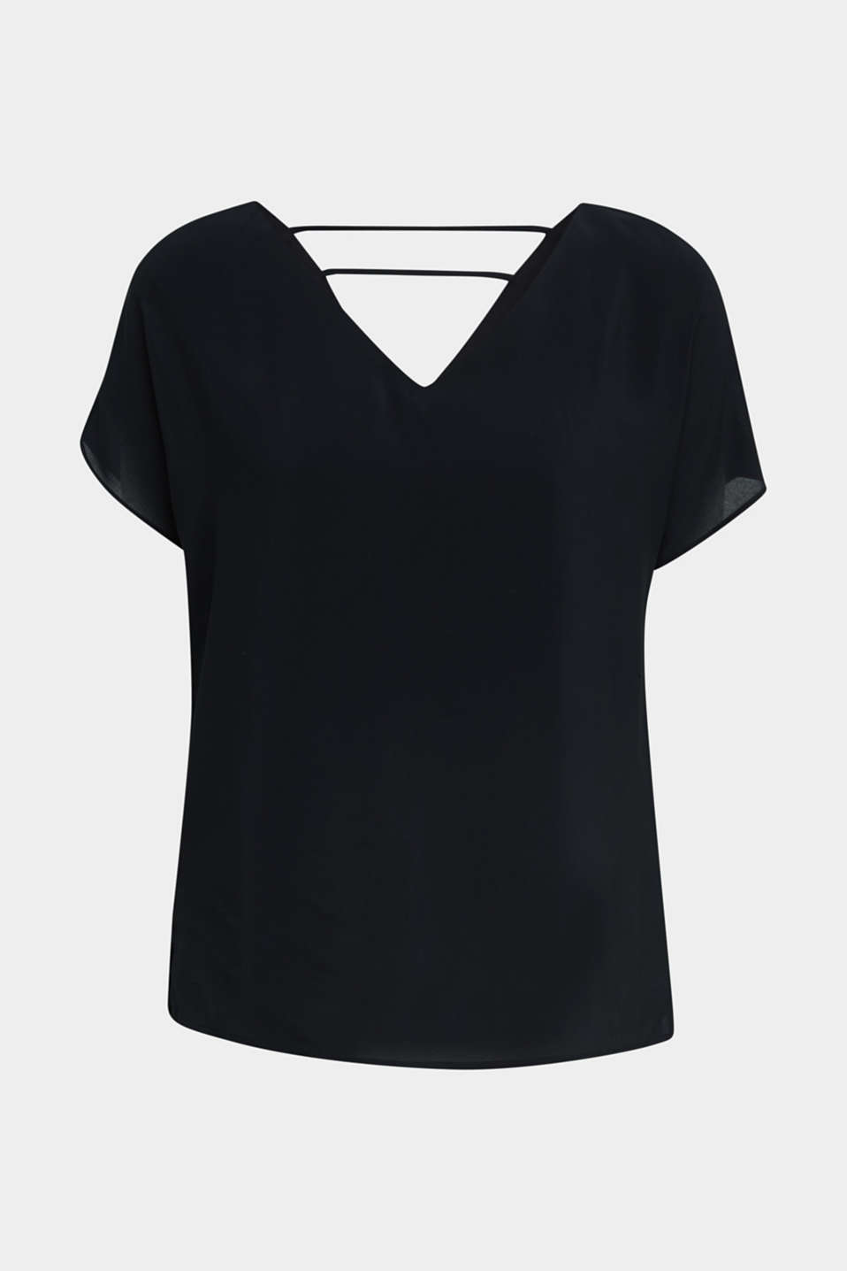 Blouse top with double-layer V-neckline, BLACK, detail image number 4