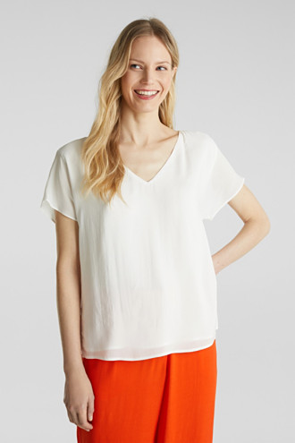 Blouse top with double-layer V-neckline