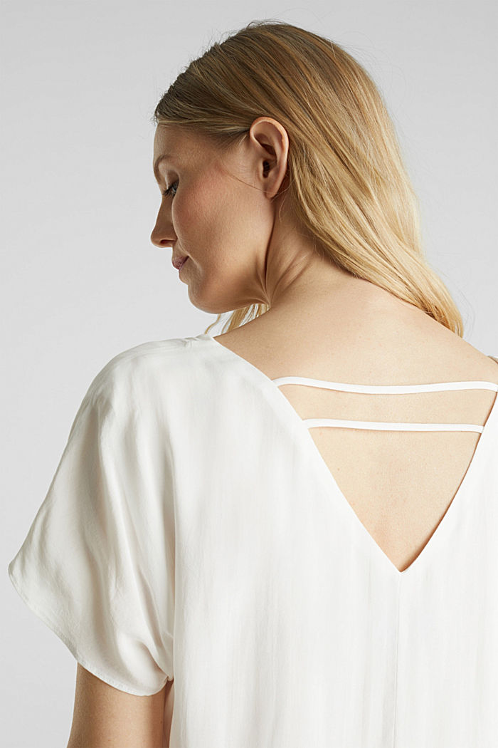 Blouse top with double-layer V-neckline, OFF WHITE, detail image number 2