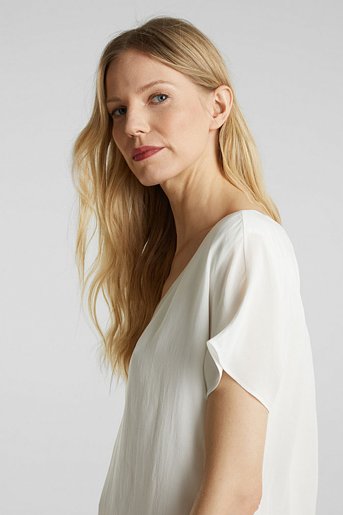 Blouse top with double-layer V-neckline, OFF WHITE, detail image number 6
