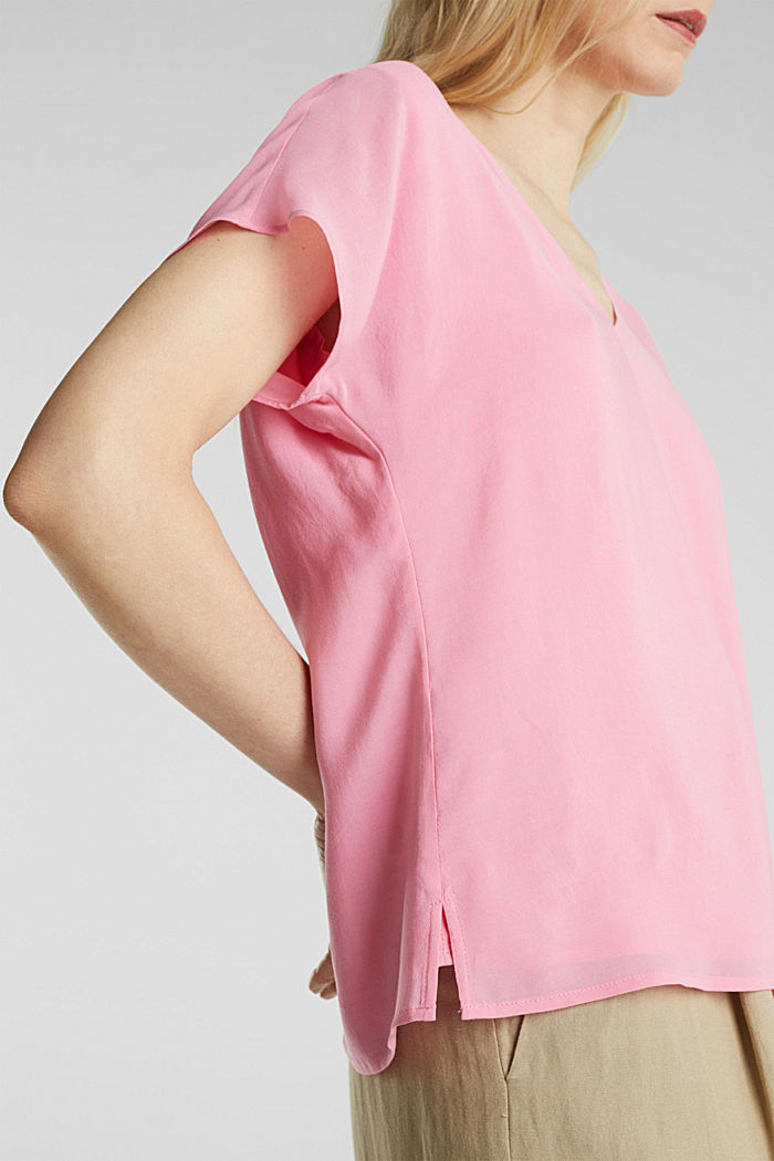 Blouse top with double-layer V-neckline, PINK, detail image number 2