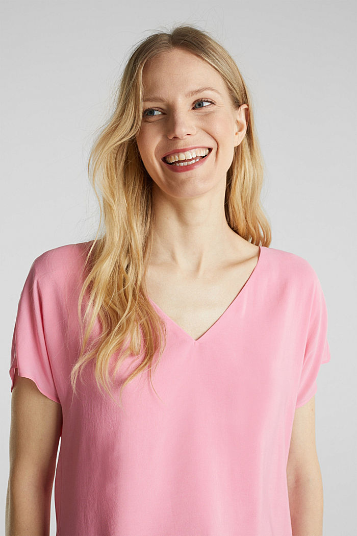 Blouse top with double-layer V-neckline, PINK, detail image number 6
