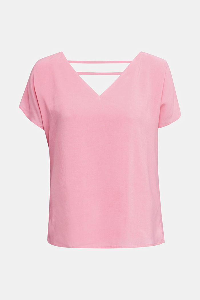 Blouse top with double-layer V-neckline, PINK, detail image number 7
