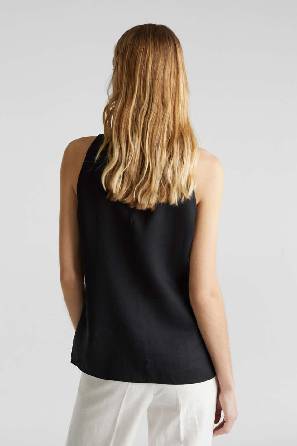 Linen blouse top with a collar, BLACK, detail image number 3