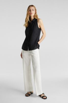 Linen blouse top with a collar, BLACK, detail