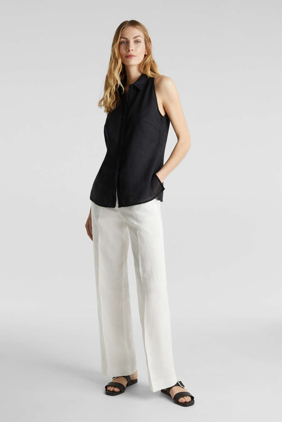 Linen blouse top with a collar, BLACK, detail image number 1
