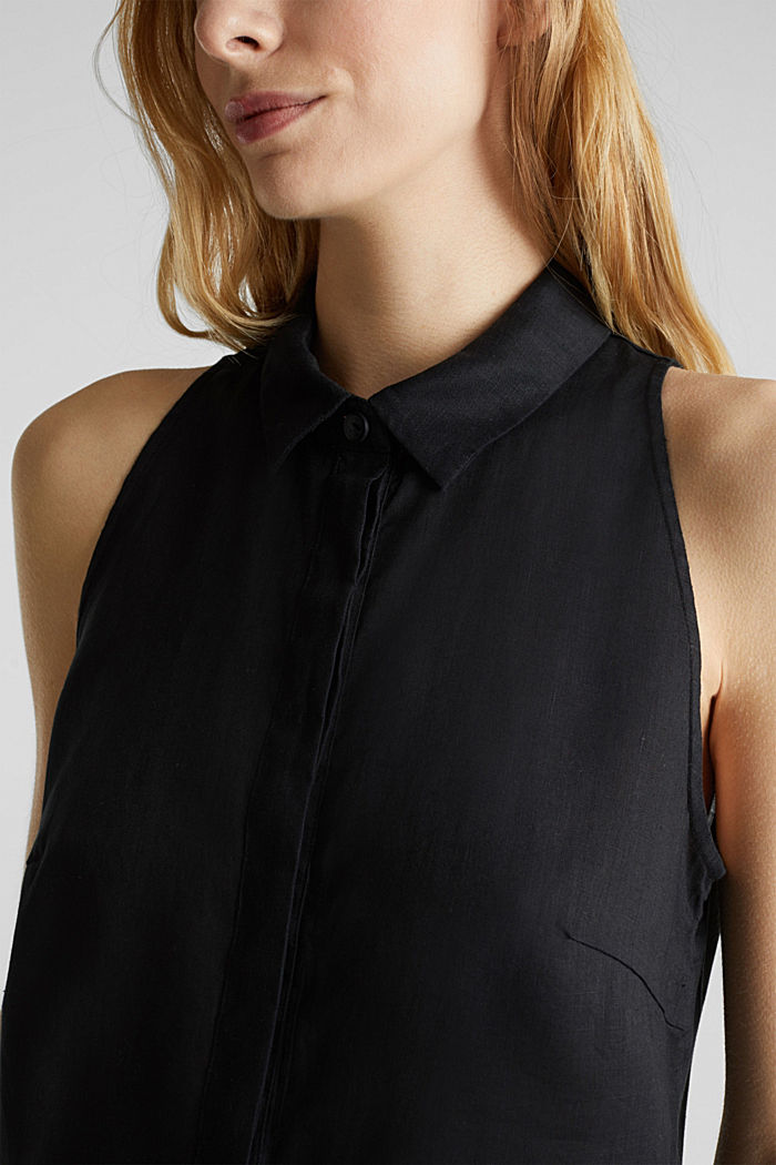 Linen blouse top with a collar, BLACK, detail image number 2