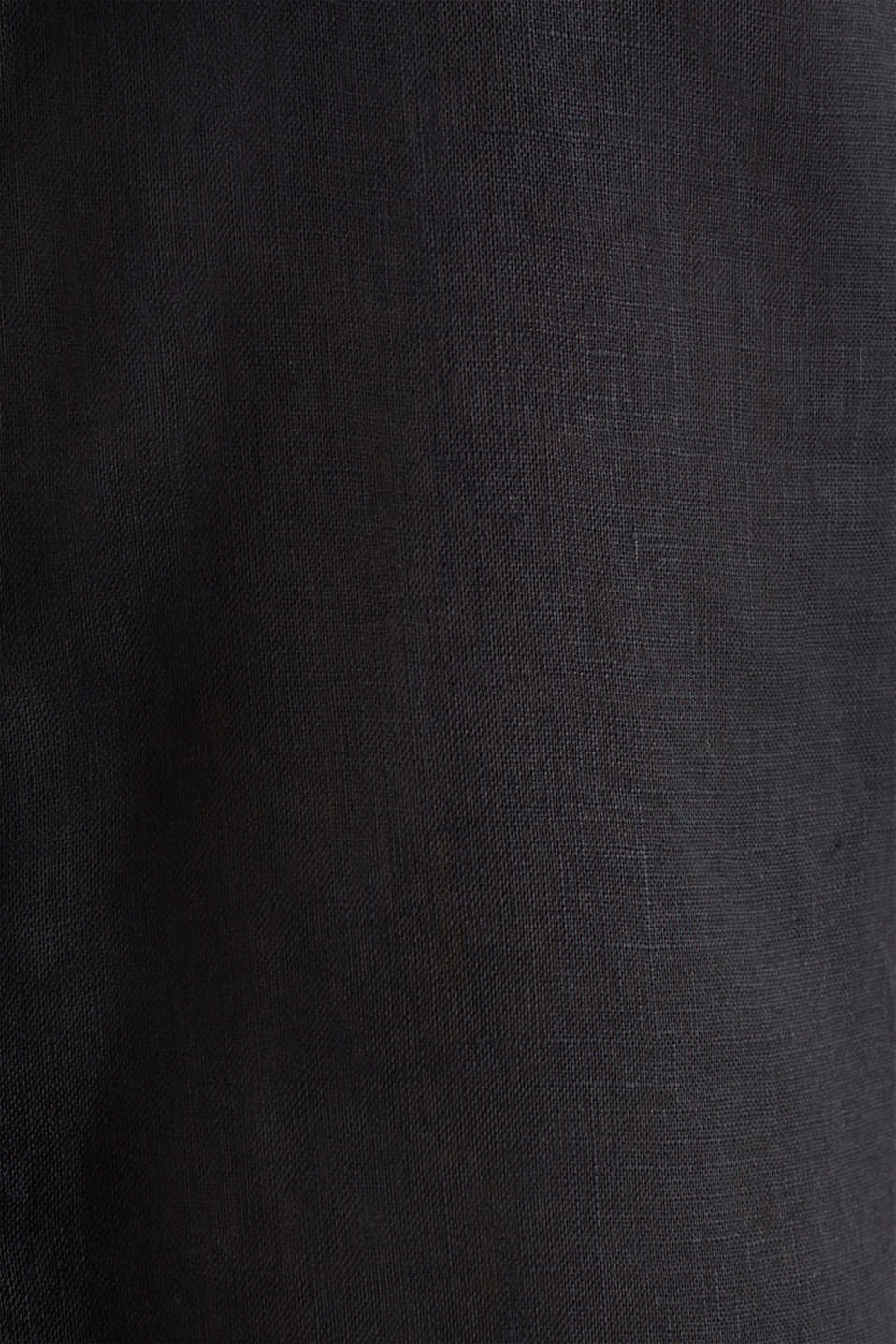 Linen blouse top with a collar, BLACK, detail image number 4