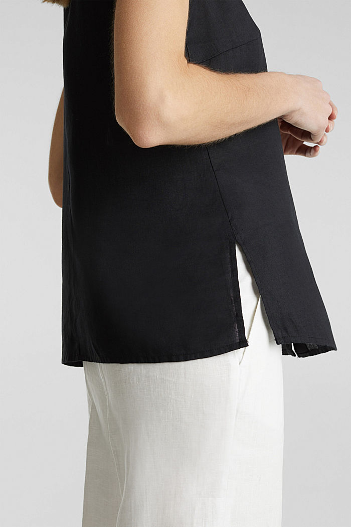 Linen blouse top with a collar, BLACK, detail image number 5