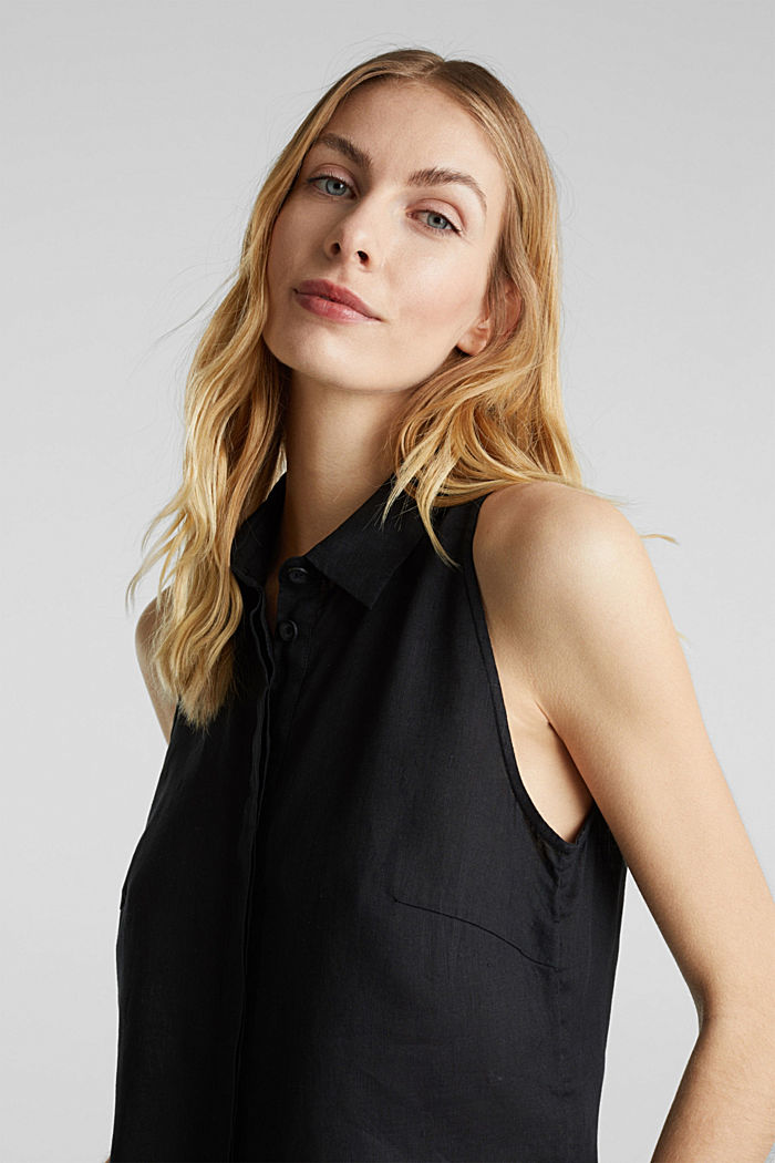 Linen blouse top with a collar, BLACK, detail image number 6