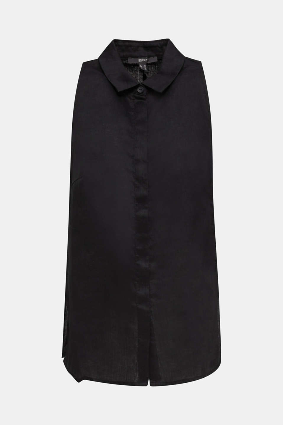 Linen blouse top with a collar, BLACK, detail image number 7