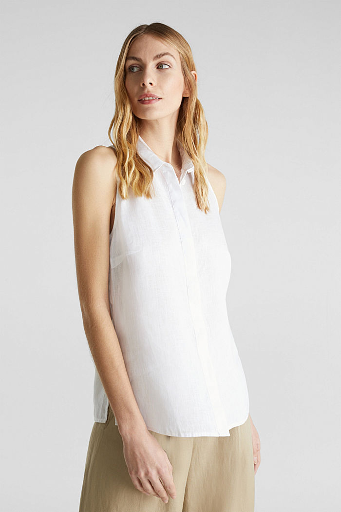 Linen blouse top with a collar, WHITE, detail image number 0